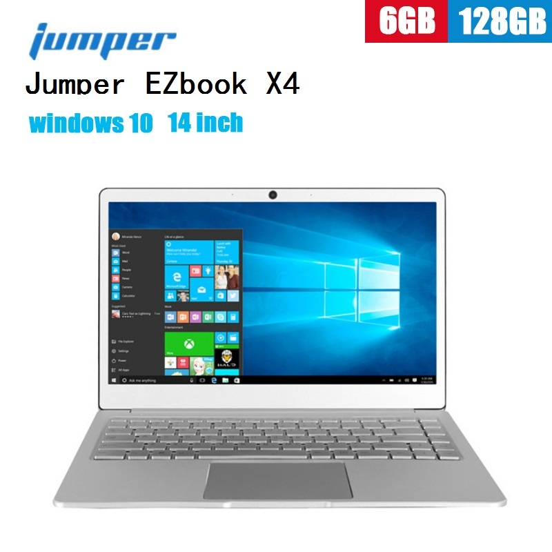 Jumper EZbook X4 Notebook 14.0'' FHD Windows 10 Laptops Backlit Keyboard Intel Apollo Lake J3455 Quad Core 6GB+128GB SSD 2MP PC