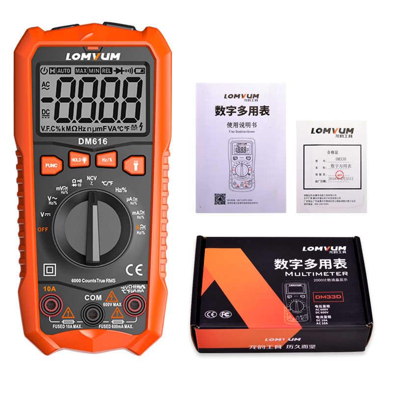 LOMVUM мультиметр DM616 NCV Цифровой мультиметр 6000 отсчетов Автоматический диапазон AC/DC измеритель напряжения вспышка свет задний большой экран тестер