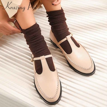 Krazing pot genuine leather vintage buckle straps solid shoes daily wear round toe low heels campus young lady women pumps L31
