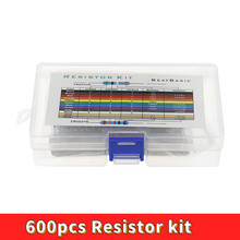600pcs/lot 30Values* 20pcs 1% 1/4 W resistor pack set diy Metal Film Resistor kit use colored ring resistance (10 ohms~1 M ohm)