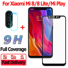 2 in 1 Screen Protector for Xiaomi Mi 8 Lite Tempered Glass Mi8 Play Camera Lens Protective