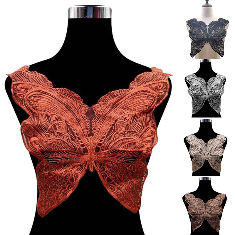 Black Collar Venise Lace Butterfly Neckline Applique Embroidery Trim Guipure Lace Fabric For Clothes Sewing Supplies