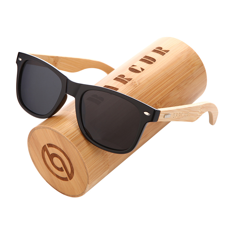 BARCUR Polarized Glasses Men Women Bamboo Wood Fashion Mirror Sunglasses Brand Designer BC4176