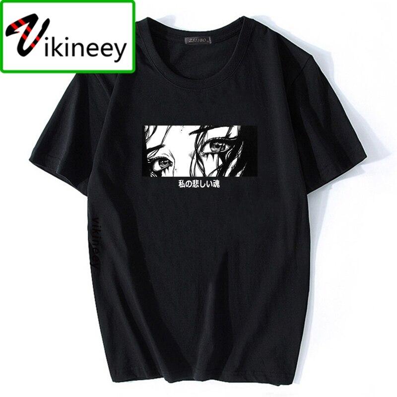 Mens Fashion Sad Girl Harajuku Aesthetic Anime T-shirt Japanese Style Afraid Of The Dark Tops My Sad Soul Cartoon Print Tshirt