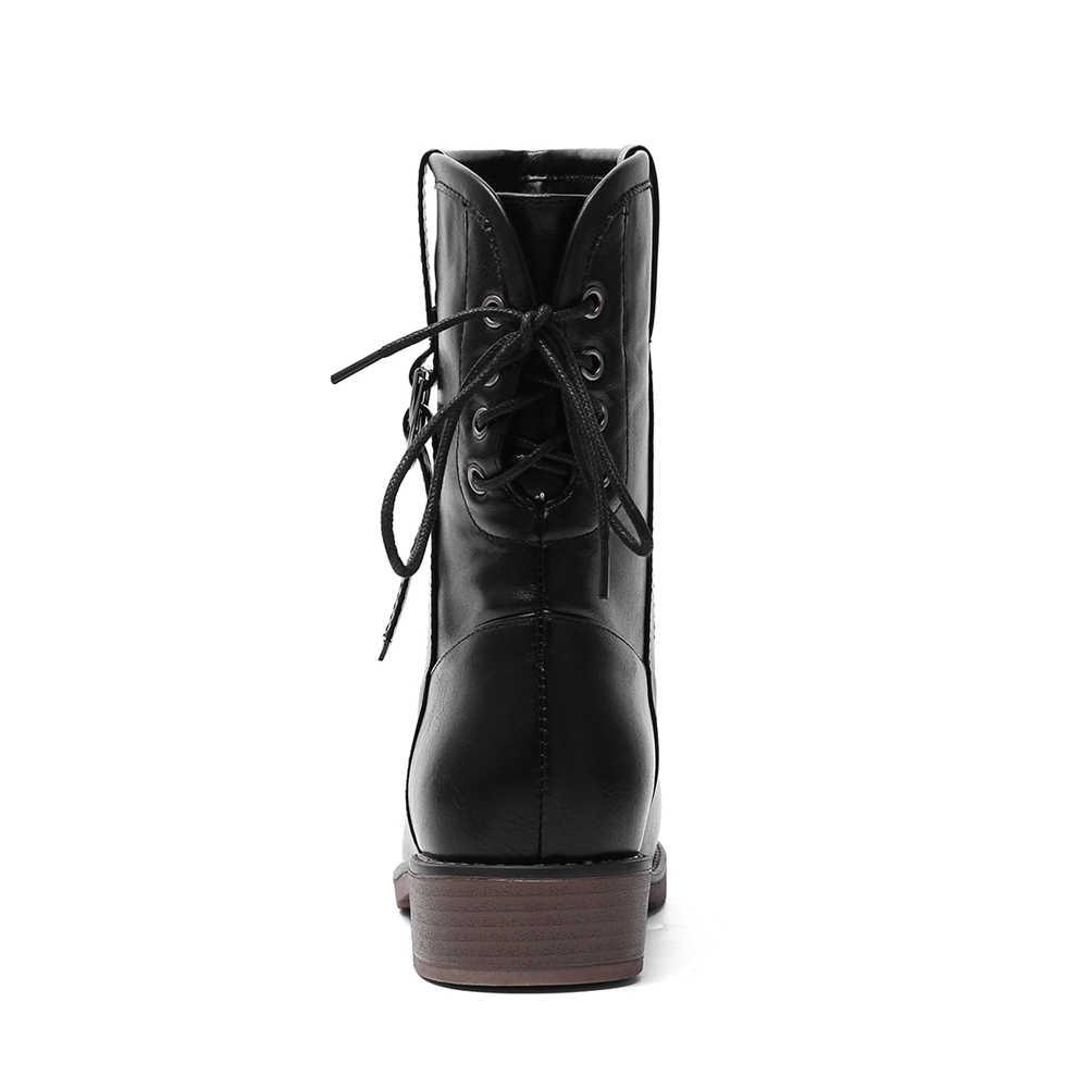 BONJOMARISA 34-43 Elegant ข้อเท้ารองเท้าบู๊ตผู้หญิง 2020 ฤดูหนาวสบายๆรองเท้าส้นสูงรองเท้าแพลตฟอร์มรองเท้าผู้หญิง
