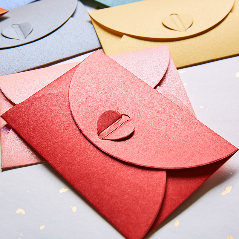 60pcs/lot Pearl Paper Colored Envelopes For Invitations Mini Heart Wedding Envelopes Vintage Greeting Card Simple Love Envelopes