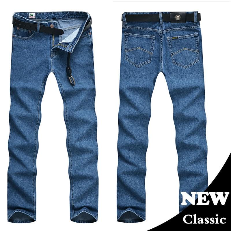 Мужские деловые джинсы, Классические весенние осенние мужские обтягивающие прямые Стрейчевые Брендовые джинсовые штаны, летние комбинезоны, облегающие брюки