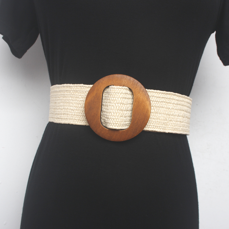 Women Waist Sealing  Fashionable Wood Round Buckle Grass Rubber Elastic Wide Belt Decorative With Casual Waistband