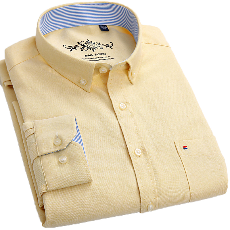 Aoliwen Spring New Men's Casual Oxford Spin Shirts Long Sleeve Cotton Shirt Yellow Patch Pocket Long Sleeve Formen Slim Fit