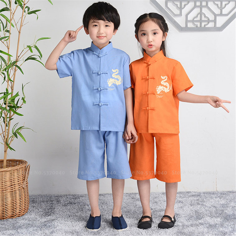Children Chinese Traditional Hanfu Tang Suit Baby Girl Boy Tee Tops Pants Embroidery Kids Kung Fu Dance Costume Festival Outfits