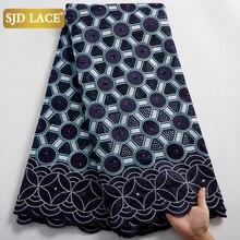 Новое поступление, африканская кружевная ткань SJD, Высококачественная синяя швейцарская вуаль, кружево в Швейцарии, хлопковая Вышивка для м...