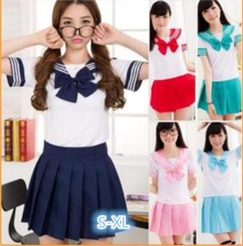 Summer Japanese school uniforms anime cosplay sailor suit short sleeve tops+tie+skirt Navy Preppy style Students Uniform for Gir japanese school uniforms anime cos sailor suit tops bow tie skirt jk navy style students clothes for girl short sleeve