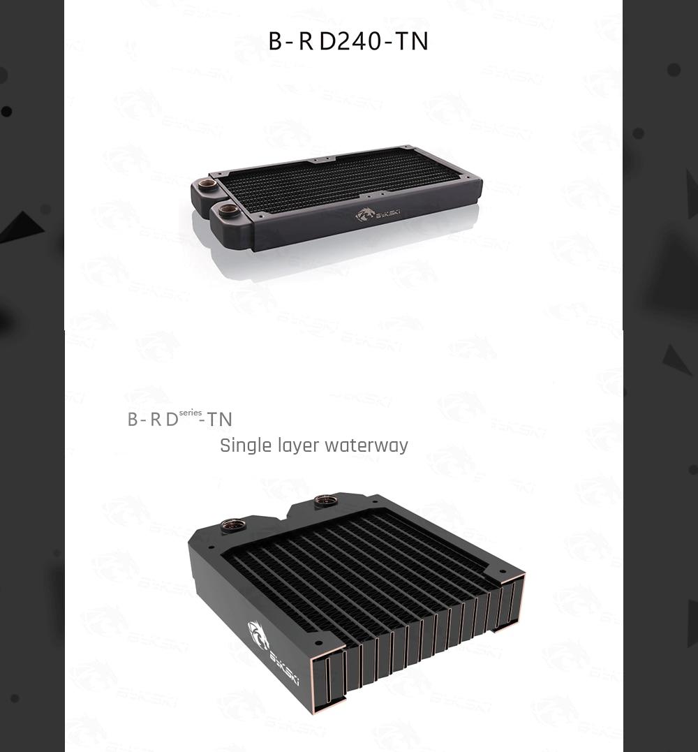 Bykski B-RD240-TN, 240mm Single Row Radiators, 29mm Thickness, Standard Water Cooling Radiators , Suitable For 120*120mm Fans