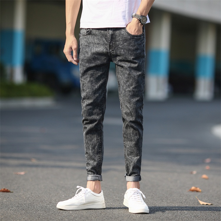 Men's Skinny Jeans Gray Denim Jeans New Fashion Men Pencil Pants Slim Jeans Men Skinny Long Jeans Mens Ripped Jeans