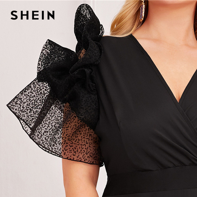 SHEIN Plus Size Black V Neck Exaggerated Ruffle Surplice Flared Party Dress Women Autumn Short Sleeve Ladies A Line Maxi Dresses 3