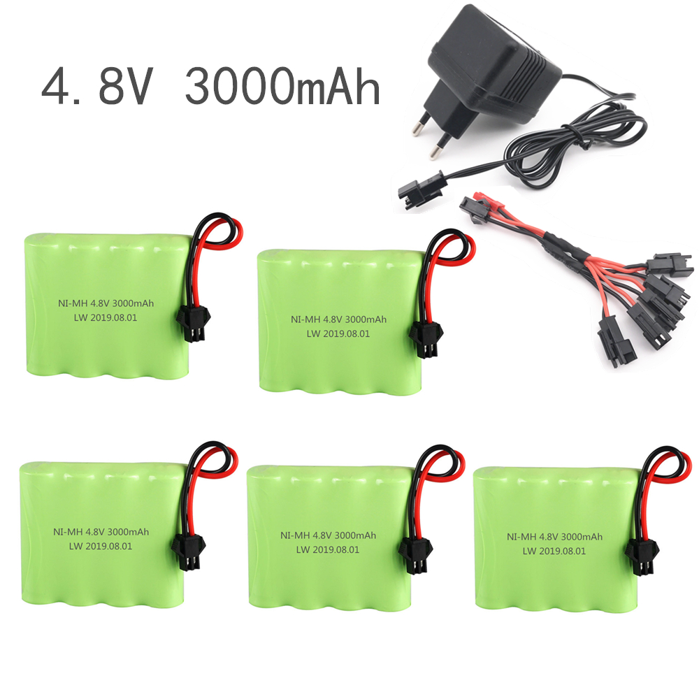 4.8v 3000mAh Ni-MH AA Battery And Charger For RC Car  Robot  Tank  Gun Boat  4.8v 2400mah 4.8v Rechargeable Battery Pack