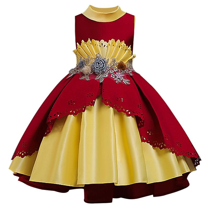 Платье подружки невесты с вышивкой и пайетками; платье принцессы с жемчужным шлейфом; первое платье с вышивкой для девочек; вечерние платья - Цвет: wine red