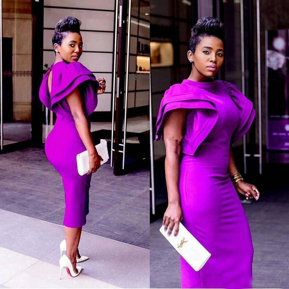 2019 New Robe De Soiree African Mermaid Tea Length Plus Size   Cocktail     Dresses   High Neck Unique Sleeve Design Formal Party Gowns