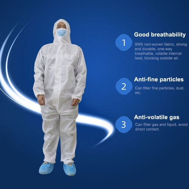 PPE Suit Disposable Isolation Gowns Non Woven Dustproof Onesie Protective Clothing Disposable  Garment Protective Clothing 1