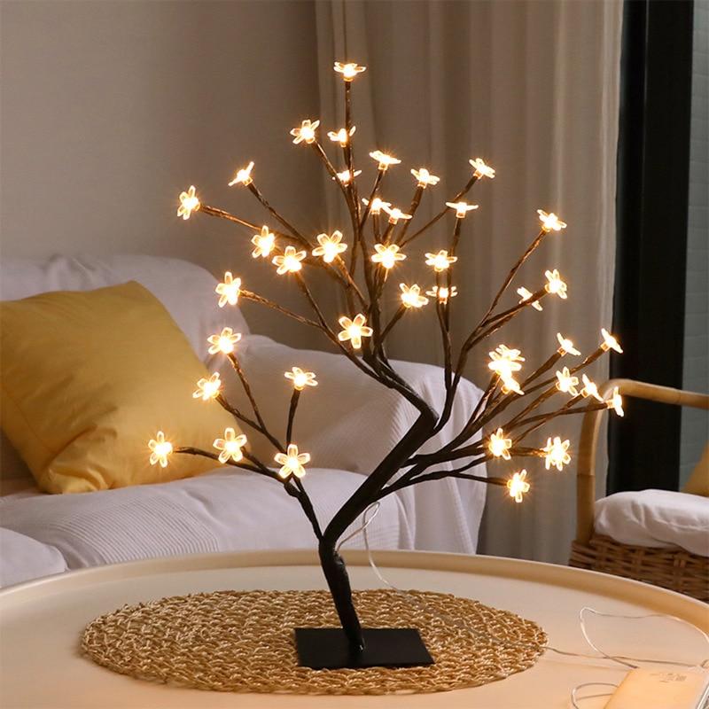 24 LED Decorative Desk Lamp Cherry Blossom Style USB Charging Tree Lights Christmas Fairy Living Room Bedroom Table Lamp