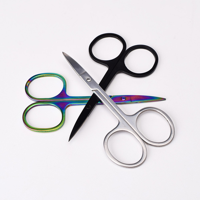 Professional Scissor Manicure For Nails Eyebrow Nose Eyelash Cuticle Scissors Curved Pedicure Makeup Tool 5