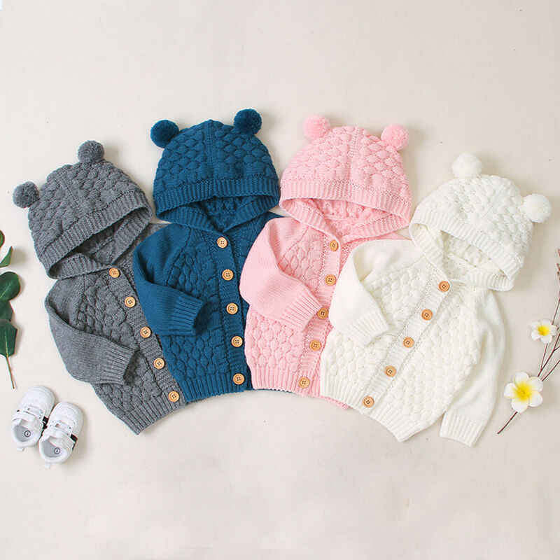 Baby Sweaters Toddler Infant Boys Girls Knitted Outfit Clothes Cute Kid Baby Hooded With Ear Winter Warm Cardigan Coat Outerwear