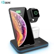 15W kablosuz şarj standı iPhone 11 Pro XS XR X 8 Airpods Apple iPhone 5 4 3 2 qi hızlı şarj 3 in 1 için Samsung S10 S9 S8