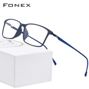 Image 1 - FONEX TR90 montatura per occhiali da uomo in lega miopia occhiali da vista montature per occhiali da vista 2019 coreano occhiali da vista senza viti 9855