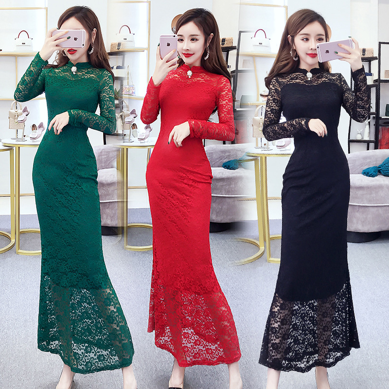 2019 Autumn And Winter Korean-style Debutante-Style Stand Collar Hollow Out Lace Long Skirts Slimming Evening Gown Slim Dress 23
