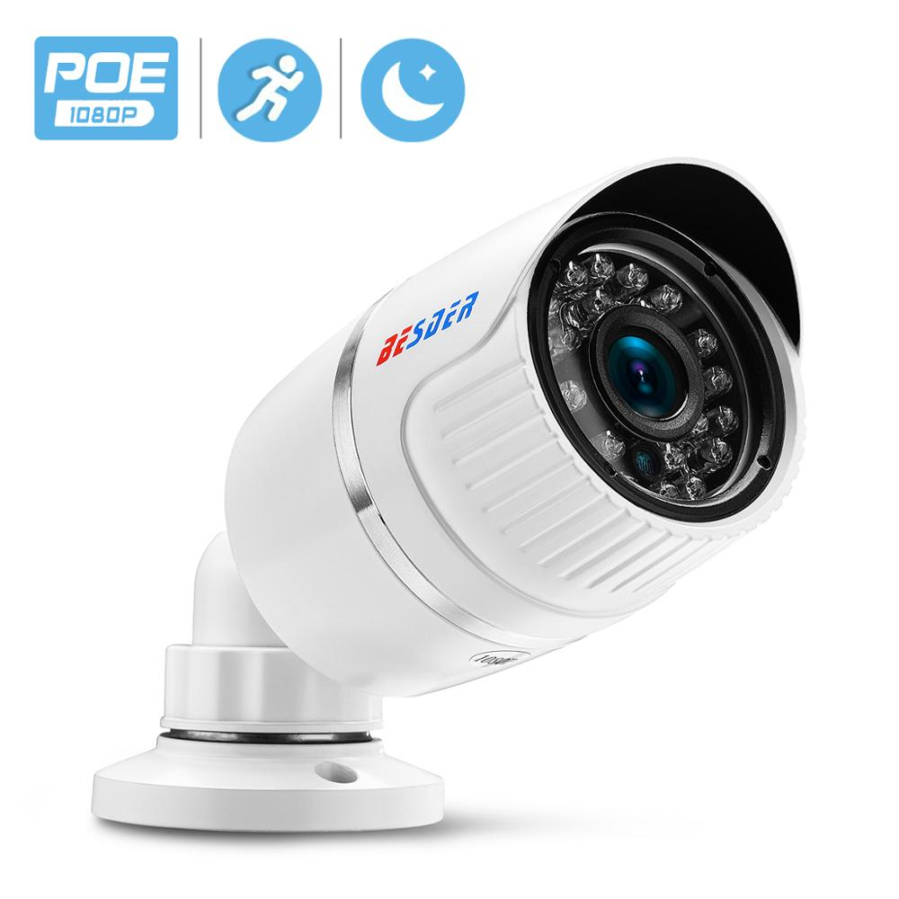 BESDER 2MP PoE Camera DC12V /48V PoE IP Camera 720P 960P 1080P CCTV Camera Outdoor IP66 Metal Bullet Security Camera ONVIF 2.0