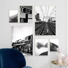 Arte de pared lienzo pintura Vintage tren nieve montaña negro blanco carteles nórdicos e imprime cuadros de pared para la decoración de la sala de estar