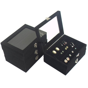 small Velvet black Carrying Case with Glass Cover Jewelry Ring Display Box Tray Holder Storage Box Organizer Earrings Ring Brace velvet with glass ring earrings necklace bracelets jewelry display organizer box tray holder storage carrying cases tools