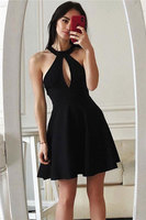 Short A line Halter Sleeveless Cocktail Party Dresses Prom Dress with Key Hole Bust Formal Evening Gown