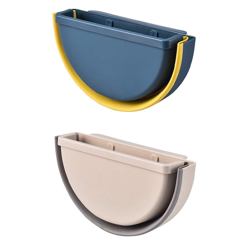 2PCS Collapsible Hanging Trash Can Small Kitchen Garbage Can Plastic Hanging Waste Bin Under Kitchen Sink Trash Bin Garbage Bin Waste Bins     - title=