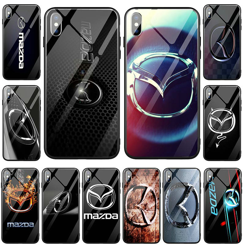 Hot Mode Pour Mazda Logo Coque for iphone 7 8 plus 5 5S SE 2020 6S X XR XS 11 Pro Max 6 6PLUS Tempered Glass Clear Phone Cases