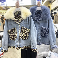 2019 Winter New Thick Denim Jacket Womens Leopard Print Lamb Wool Liner Parka Women's Loose Fox Big Fur Collar Cotton padded Top