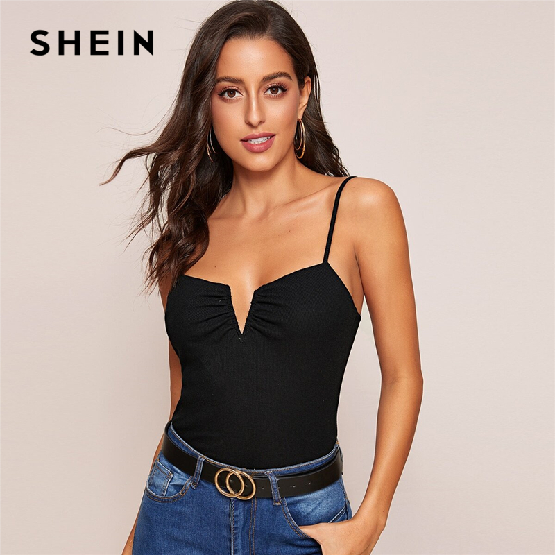 SHEIN Black V-bar Rib-knit Slim Cami Top Spring Summer Sexy Spaghetti Strap Slim Fit Vest Sleeveless Stretchy Solid Ladies Tops 1