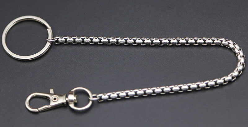 Long Metal Wallet Square Box Chain Leash Pant Jean Keychain Ring Clip Men's Hip Hop Stainless Steel Jewelry
