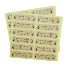 120 Pcs/lot Cute Long Hand made with love Kraft paper Seal sticker For handmade products baking products sealing sticker Label 120 pcs lot cute long hand made with love kraft paper seal sticker for handmade products baking products sealing sticker label