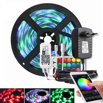 Music / Bluetooth / WiFi RGB LED Strip Light 2835 DC 12V Waterproof 5M 60 LEDs/m Ribbon Led Diode Tape Controller Power Adapter - DISCOUNT ITEM  40% OFF All Category
