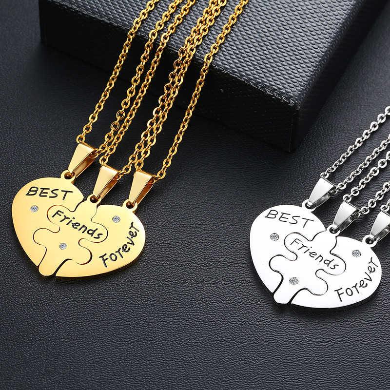Serce BFF zestaw naszyjników 3 wisiorek grawerowane najlepsi przyjaciele na zawsze Puzzle biżuteria dla kobiet mężczyzn pary
