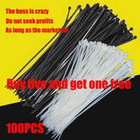 Autobloccante cavo di plastica fascetta di nylon 100 PCS in bianco e nero cravatta anello di fissaggio cavo tie varie specifiche