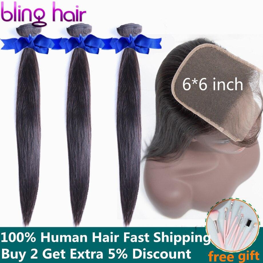 Bling włosy 6x6 koronki zamknięcie i wiązki pasma prostych włosów z zamknięcia peruwiański 100% Remy ludzki włos przedłużanie włosów naturalny kolor w 3/4 pasma z siateczką od Przedłużanie włosów i peruki na AliExpress - 11.11_Double 11Singles' Day 1