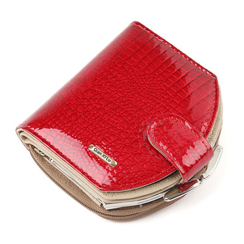 2020 New Brand Croco Design Mini Wallets Women Hobo Purses Fashion Patent Leather Coin Wallets Red and black Female Money Bag