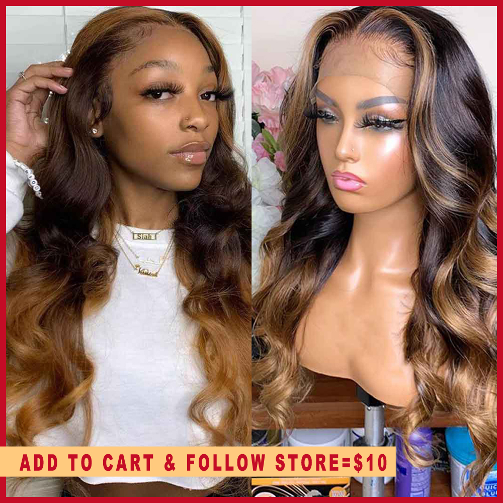 Full Lace Human Hair Wigs Honey Blonde Highlight Wigs  360 Frontal Long Body Wave Remy Ombre Brown Deep Part 13x6 Lace Front Wig
