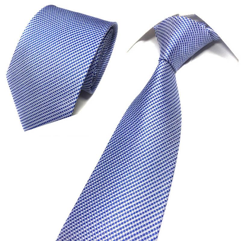 Luxury Striped Men's  8cm Silk Necktie Blue Classic Neck Ties Casual Business Formal Dress Wedding Accessories Gifts For Men Tie