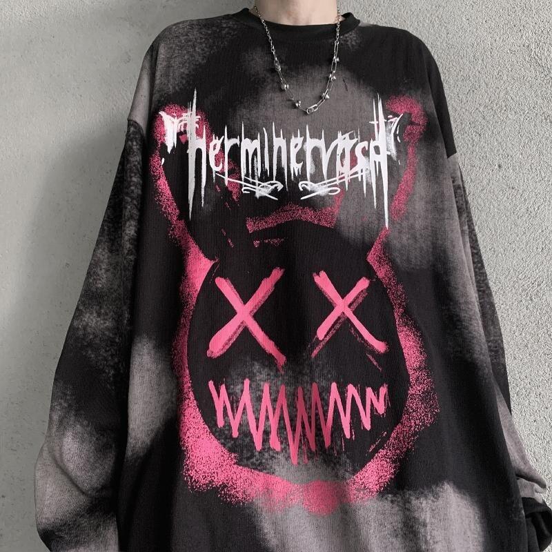 Hip Hop Harajuku Tshirt Streetwear Casual Black Rock T Shirts Autumn Cool Punk T Shirt Fashion Japan Men Women Couple Tshirt