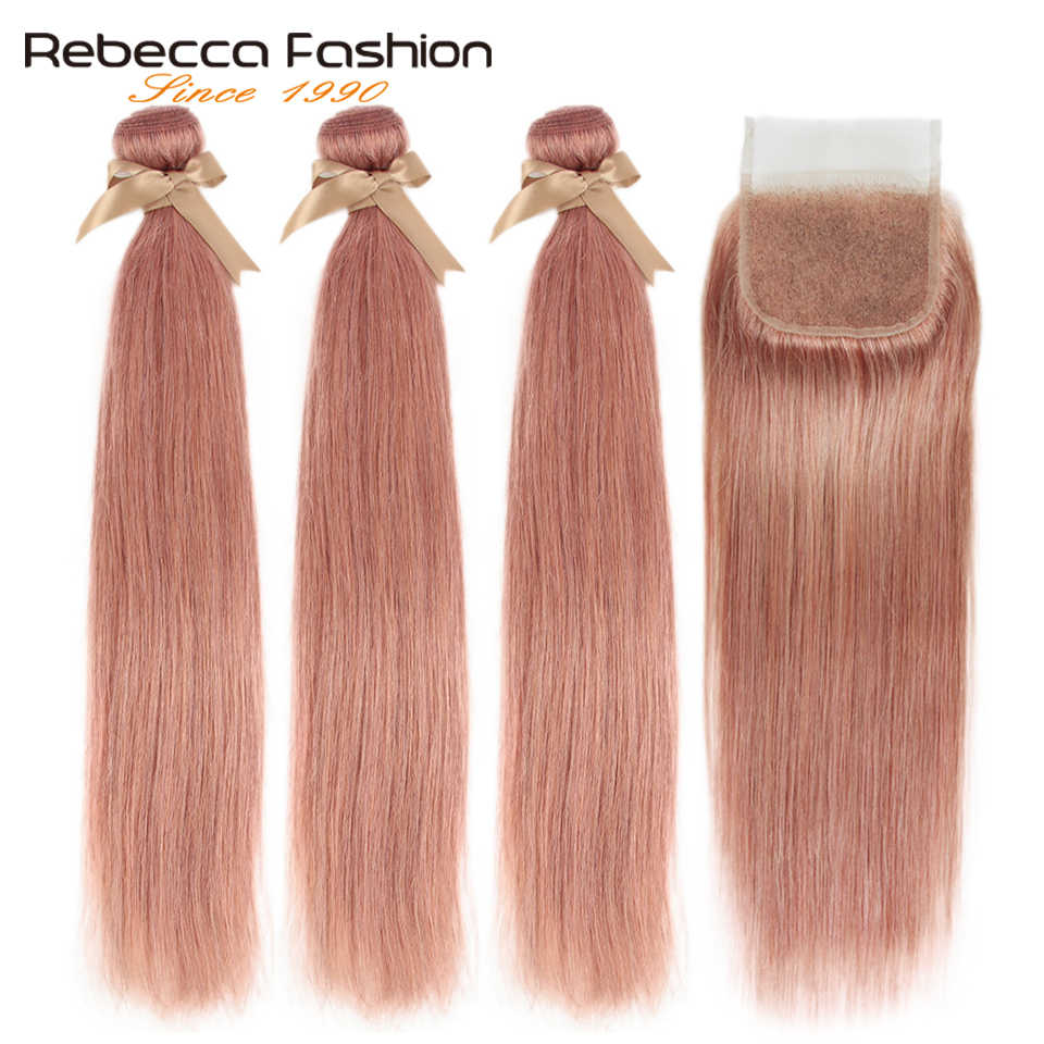 Rebecca S Pink Blonde 8# Bundles With Closure Brazilian Straight Remy Human Hair 3 Bundles S Pink Blonde With Closure