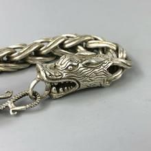 Exquisite Alte Tibet Silber kupfer Handarbeit Double Dragon Chinesische Armband YR