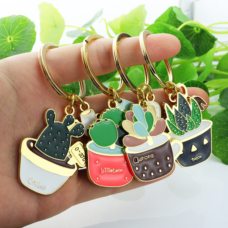 Lovely Cactus Keychain Women Succulent Potted Succulent Plants Shaped Keychain Ring Creative Car Key Chains Best Gift For Friend